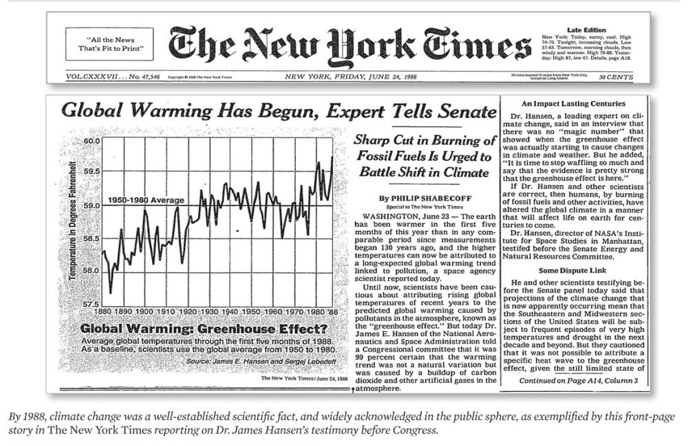 Risultati immagini per NEW YORK TIMES HANSEN 1988